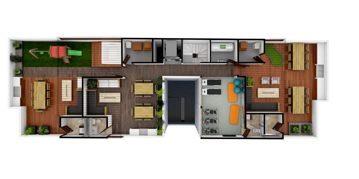 30 de 32: Roof garden y salón de usos múltiples
