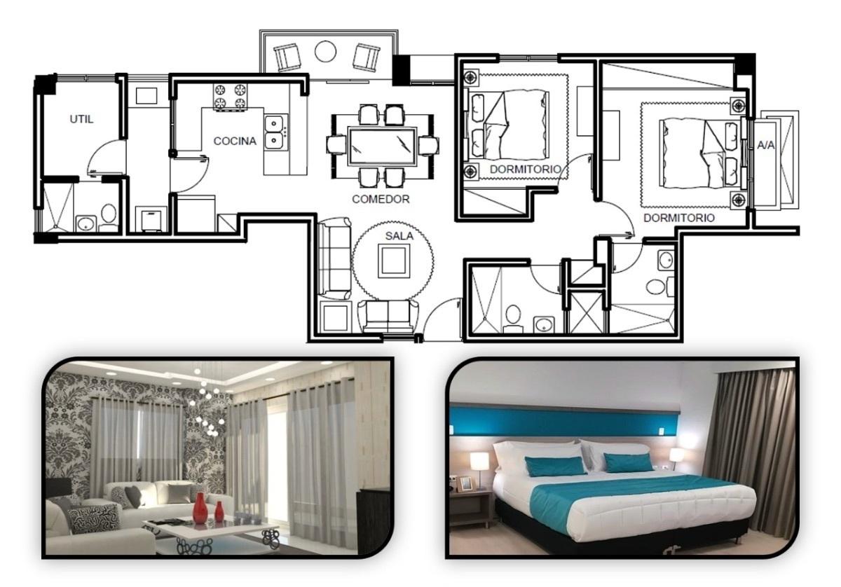 6 de 17: Planta arquitectónica 2 habitaciones
