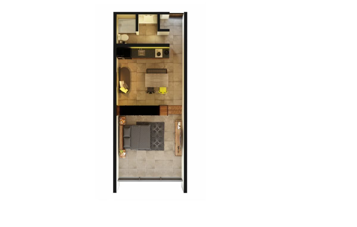 4 de 7: Plano Modelo Studio Apartment 1