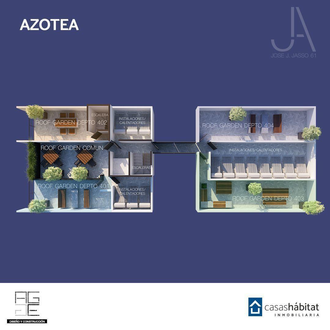 10 de 10: Planta Azotea. Roof garden común y privados(401-402-403-404)