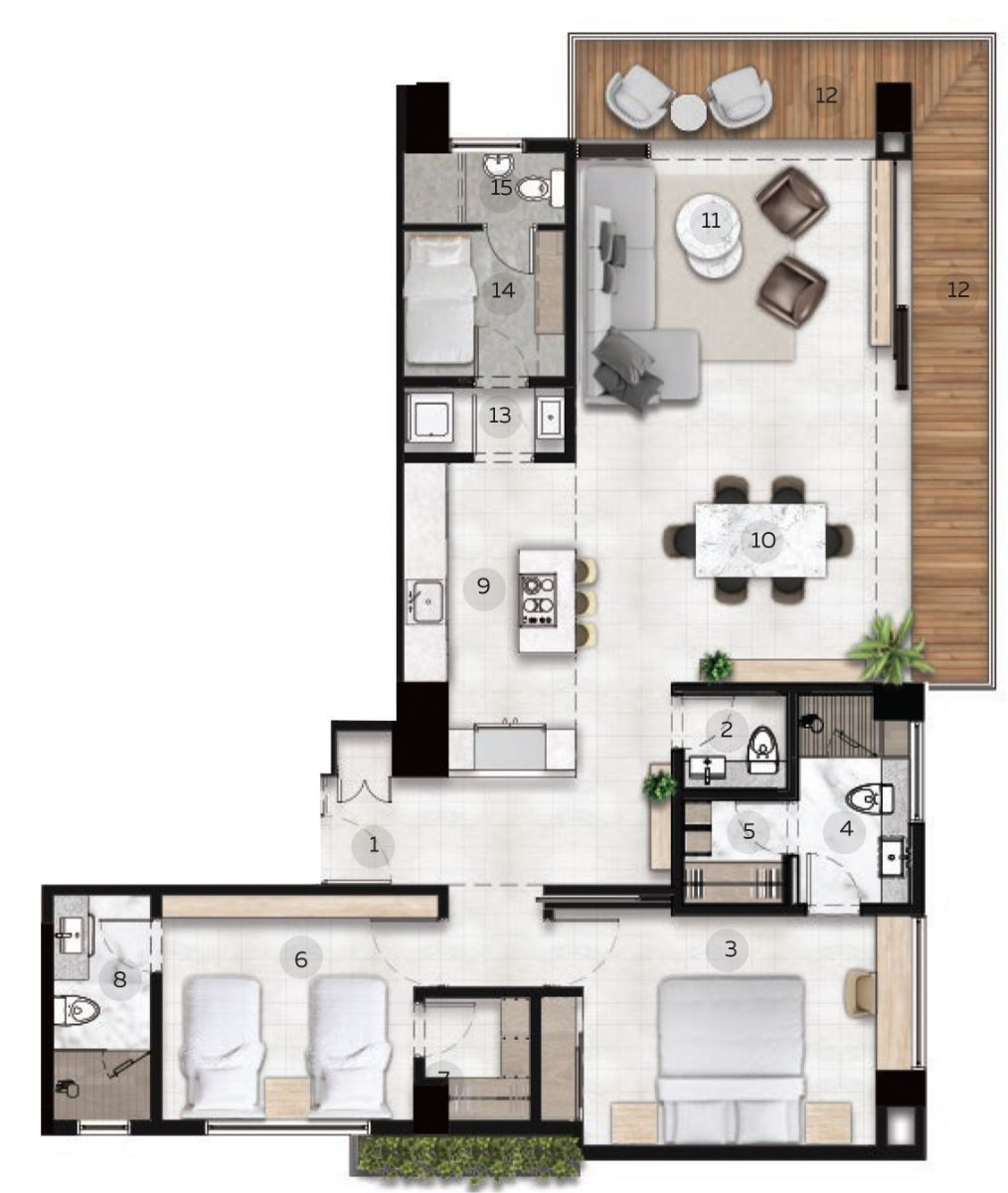 33 de 33: APARTAMENTO TIPO 5 Esc. 1:75 - 141 m2 + 12 m2 Terraza