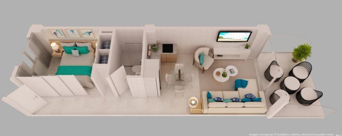 5 de 14: Plano de apartamento de 1 habitación