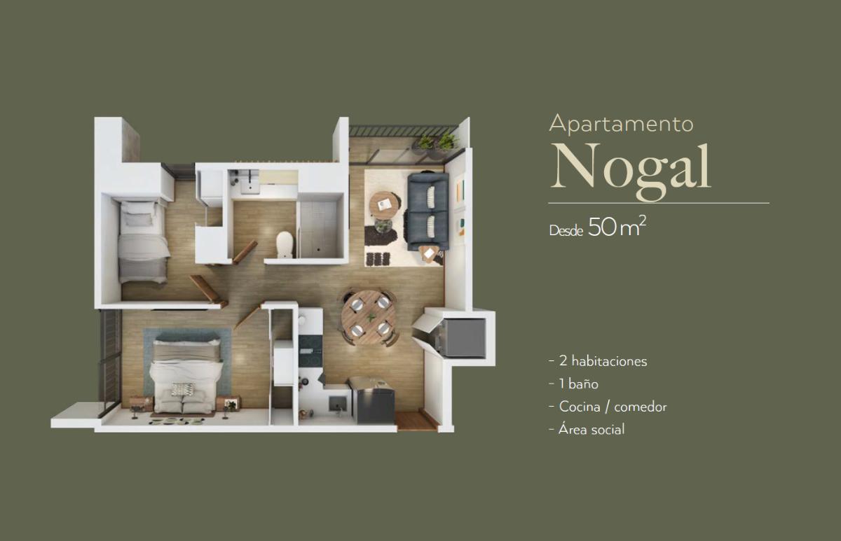 3 de 11: Plano del apto de dos habitaciones sin balcón