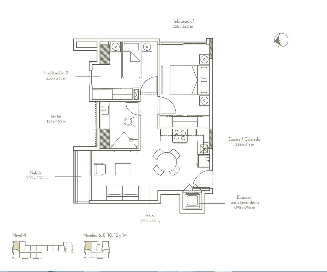 4 de 11: Plano de dos habit. con balcón