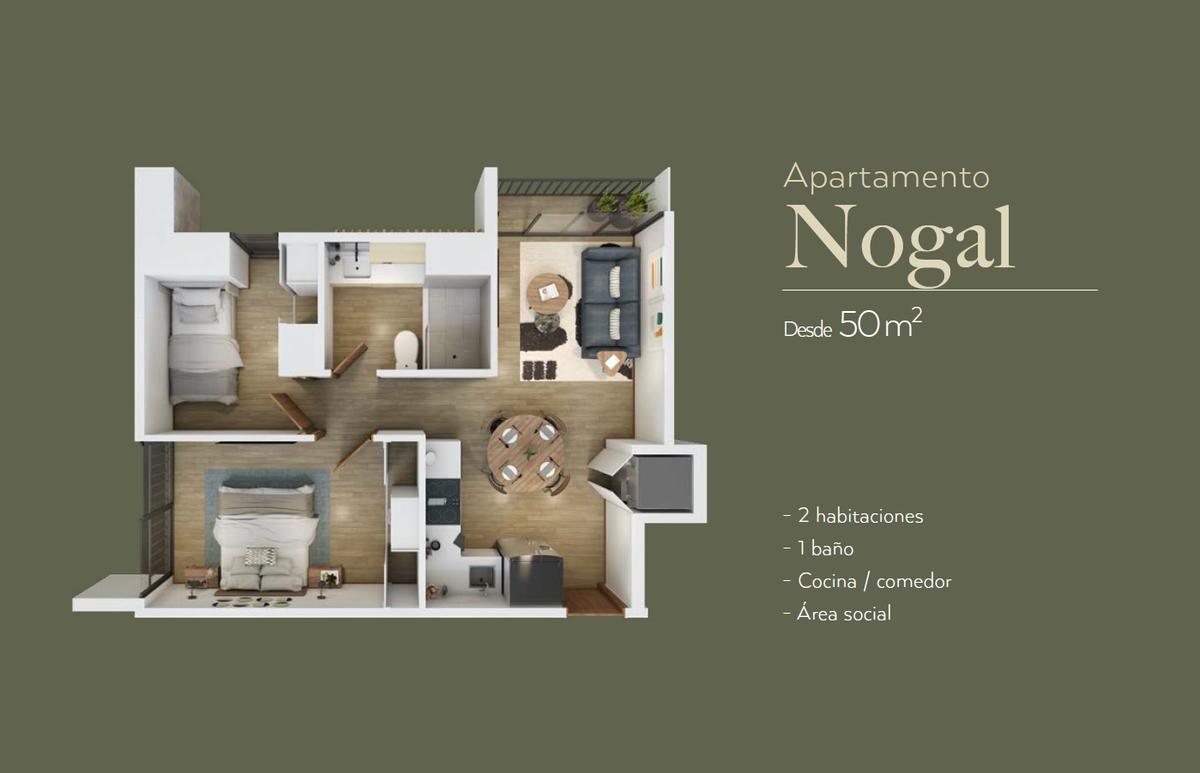 2 de 8: Plano  de dos habitaciones