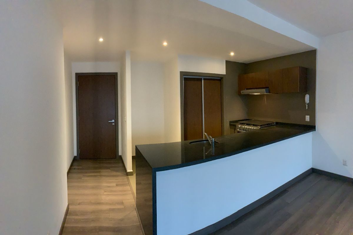 10 de 16: Entrada, cocina con barra y puertas para área de lavado