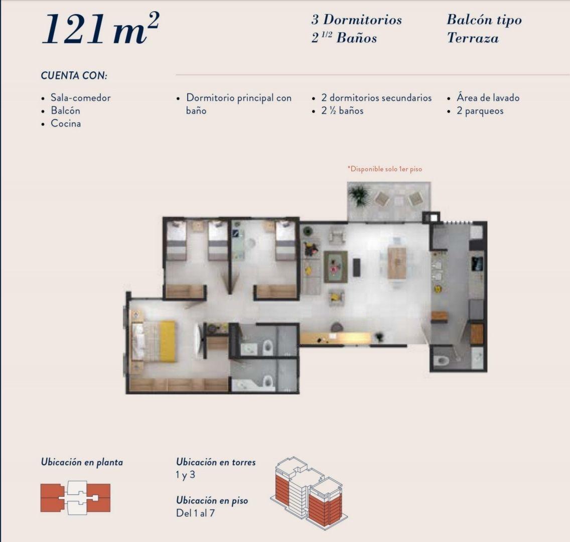 18 de 22: Distribución  121 m2