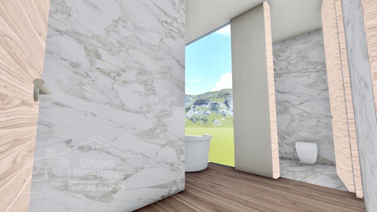 27 de 32: Render baño, acabados piso y paredes marmol