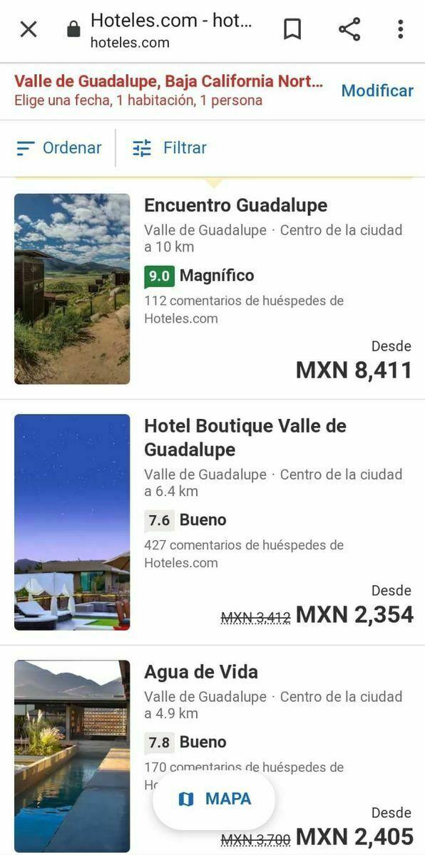 10 de 10: Precios de hospedaje de hoteles por la zona