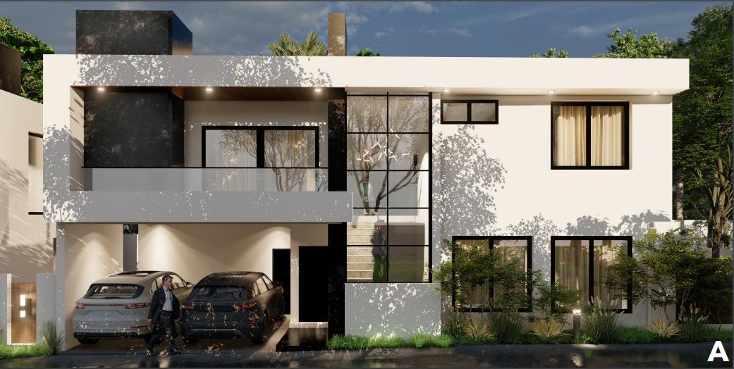 2 de 10: fachada tipo A, casa moderna de 2 niveles