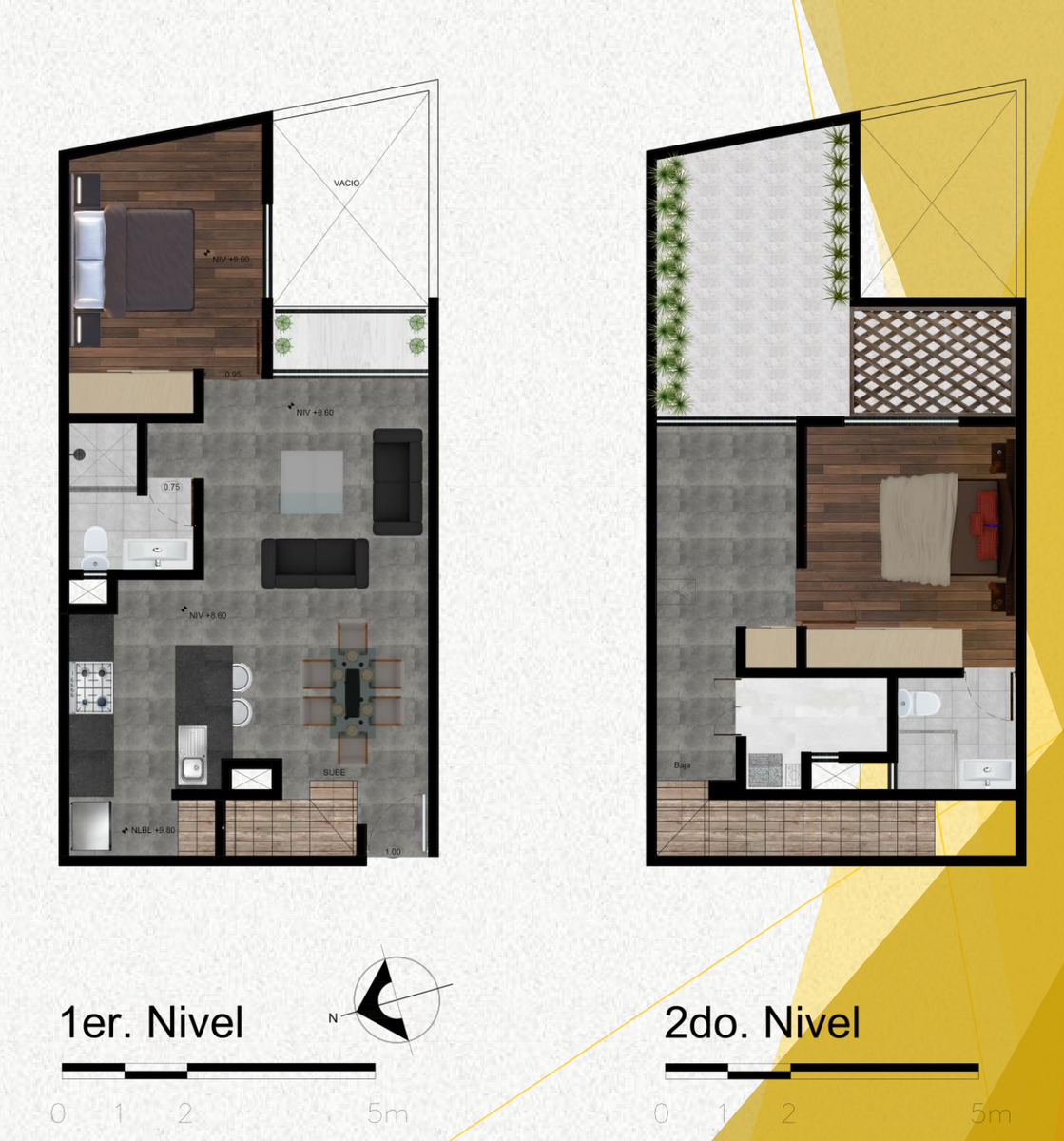 11 de 11: Planta arquitectónica de los 2 niveles