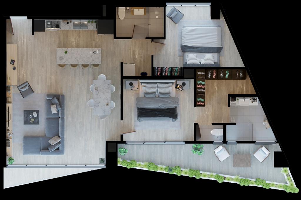 25 de 29: Modelo Dammar. 115.60 m2 + 21.21 m2 balcón.