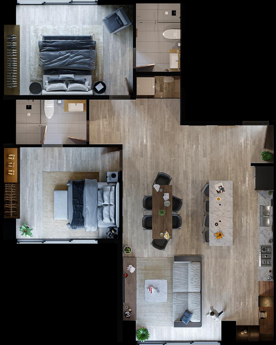 26 de 29: Modelo Epidot. 105.61 m2 + 10.57  m2 balcón.