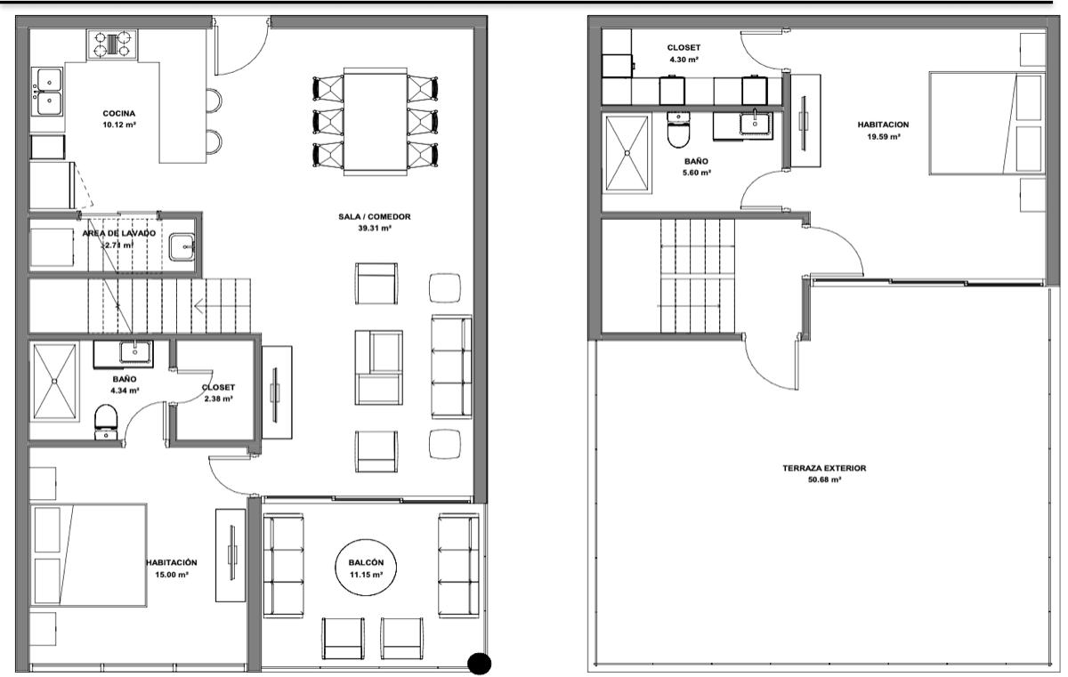 18 de 19: Planta arquitectónica Penthouse 2 habitaciones 165.18