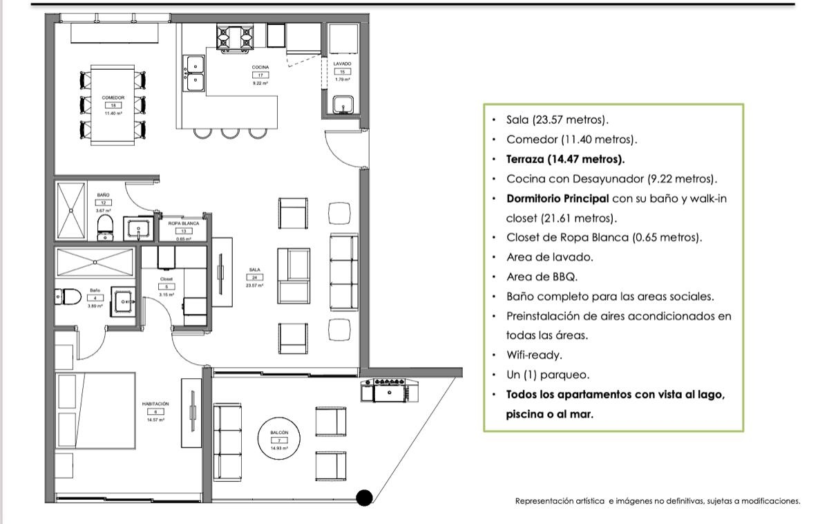 14 de 19: Planta arquitectónica Modelo B - 1 habitación (99.5 m2)
