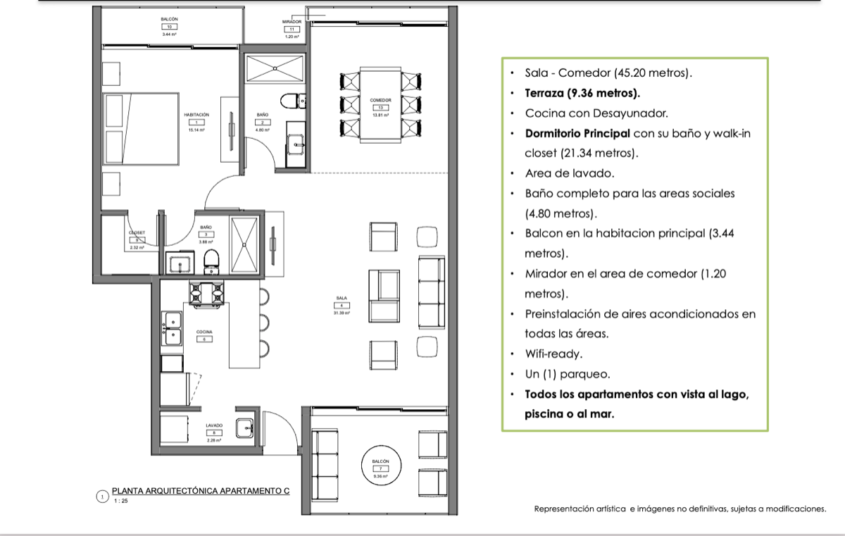 16 de 19: Planta arquitectónica Modelo C - 1 habitación (116 m2)