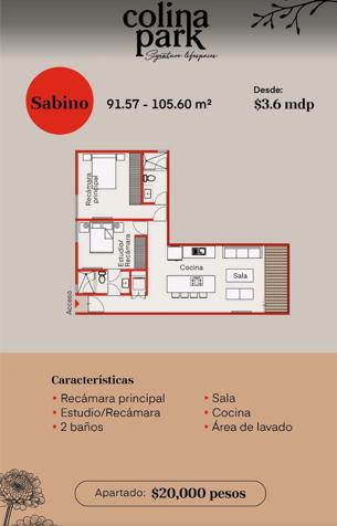8 de 11: MODELO SABINO 1 RECAMARA + 1 RECAMARA/ESTUDIO