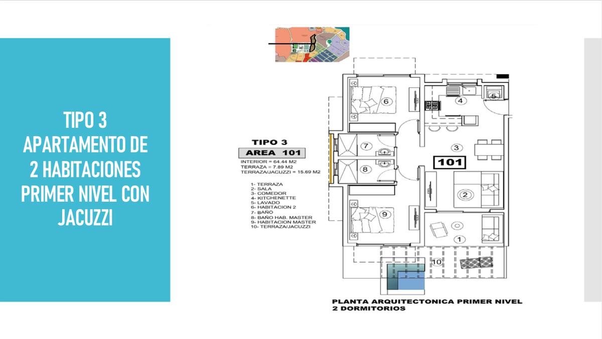 7 de 12: tipo 3 Apto de 2 habitaciones primer nivel con jacuzzi