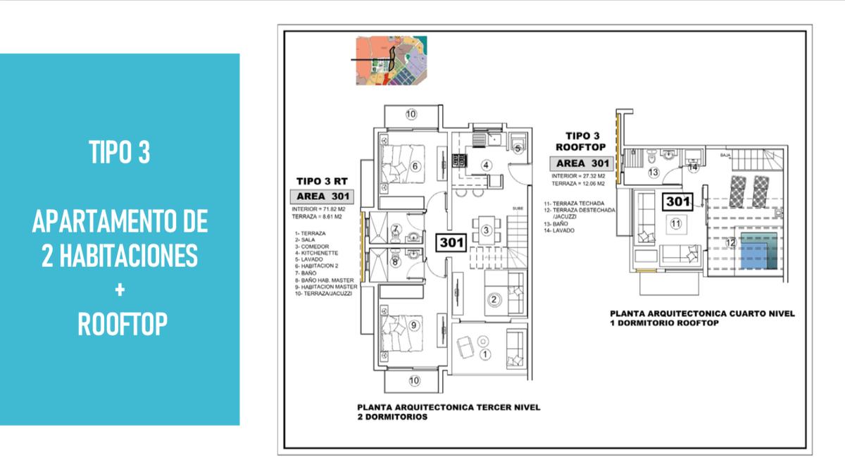 9 de 12: tipo 3 apartamento de 2 habitaciones con Rooftop
