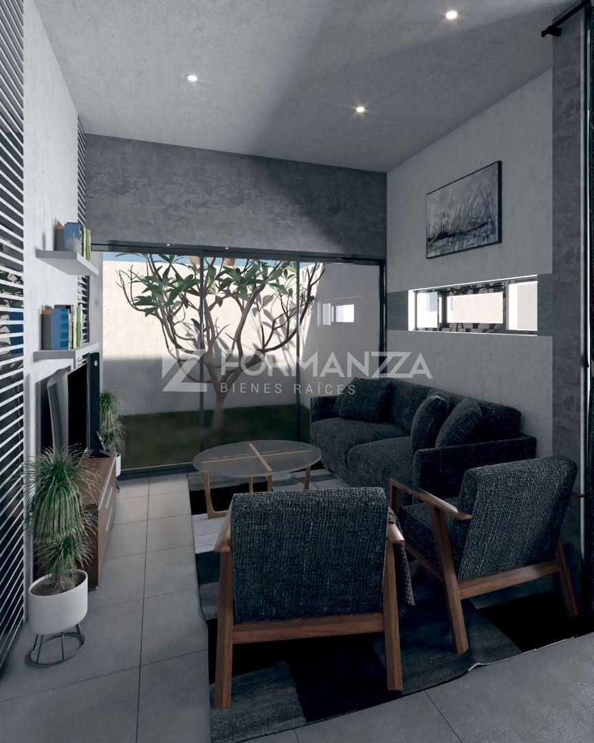 5 de 6: Render: Vista de sala con patio trasero.
