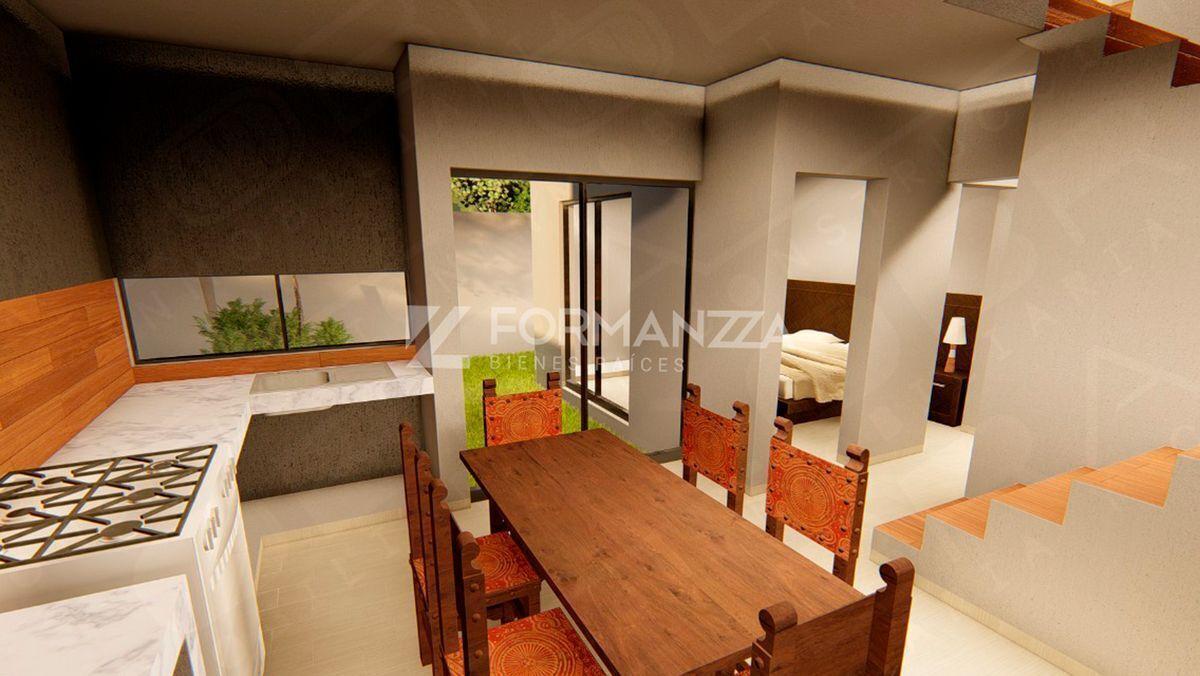 5 de 5: Render: Cocina, comedor y habitación planta baja.