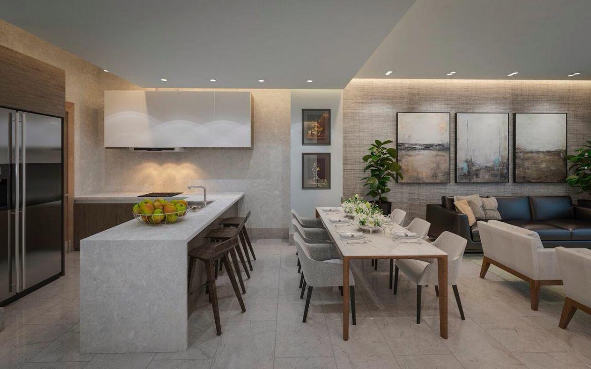 6 de 11: Moderna Cocina integrada y buen espacio para TU comedor