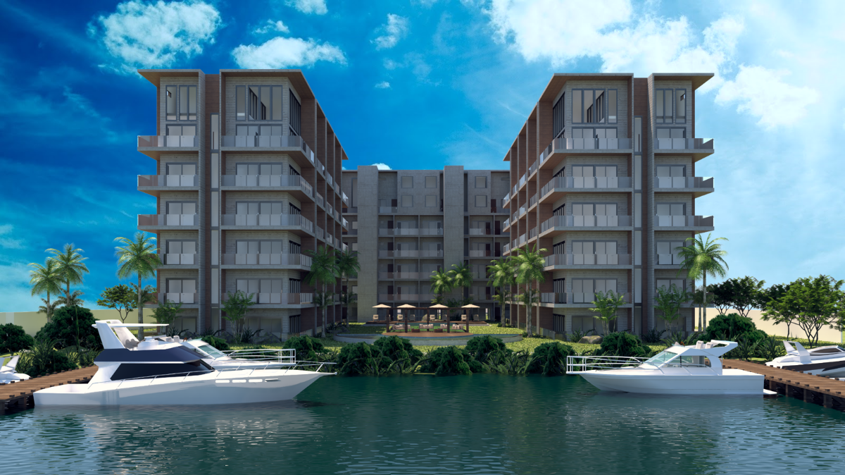 8 of 9: canal view of the development