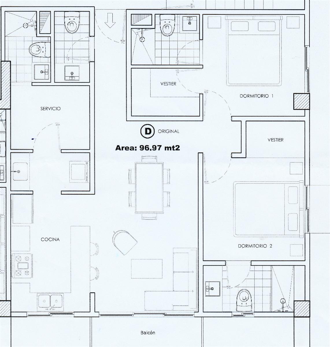 13 de 16: Planta arquitectónica del apartamento.
